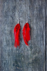 Lady in red Feather Earrings