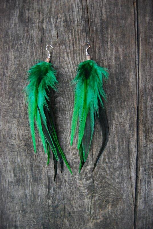 Emerald Feather Earrings