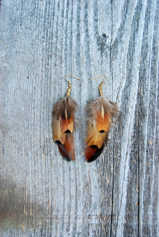 Desert sun Feather earrings