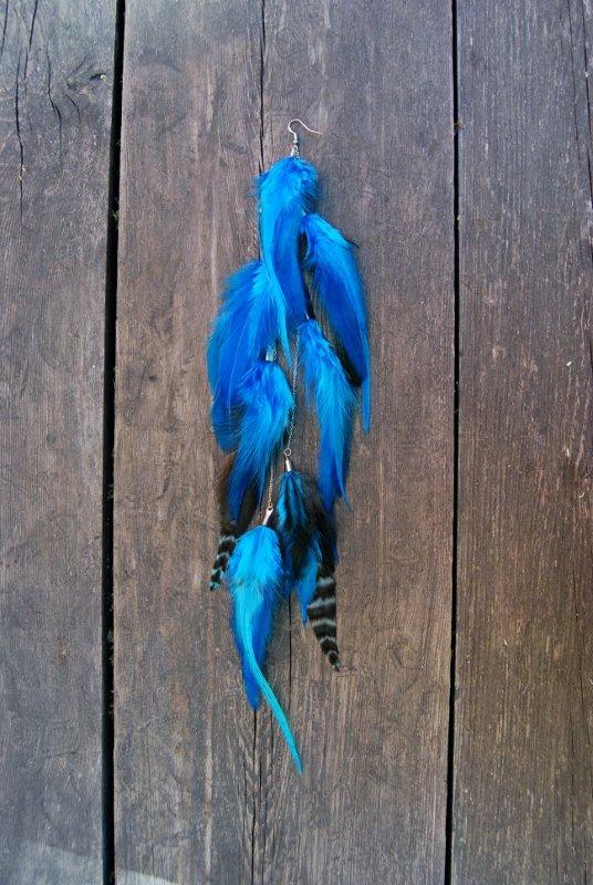 Blue lagoon Feather earring
