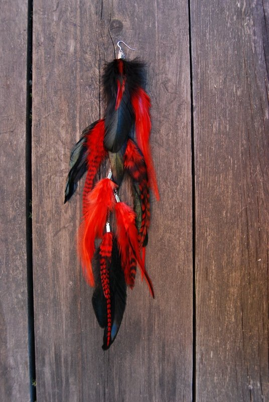 Red velvet Feather earring