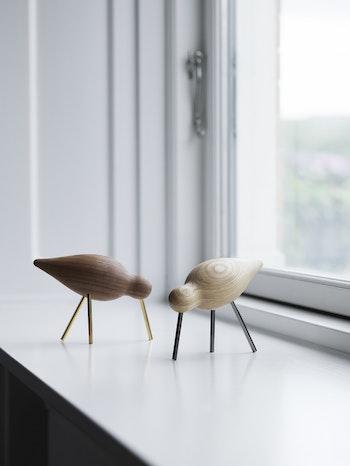Shorebird i valnöt med mässingben, mellan