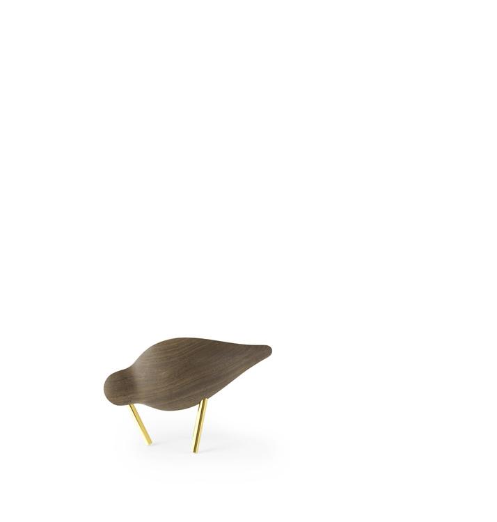 Shorebird i valnöt med mässingben, liten