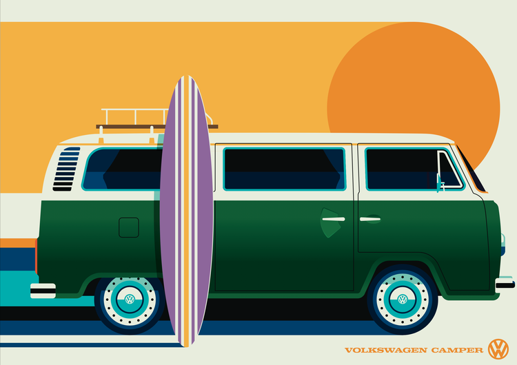 VOLKSWAGEN BUSS Poster av Bo Lundberg 50*70