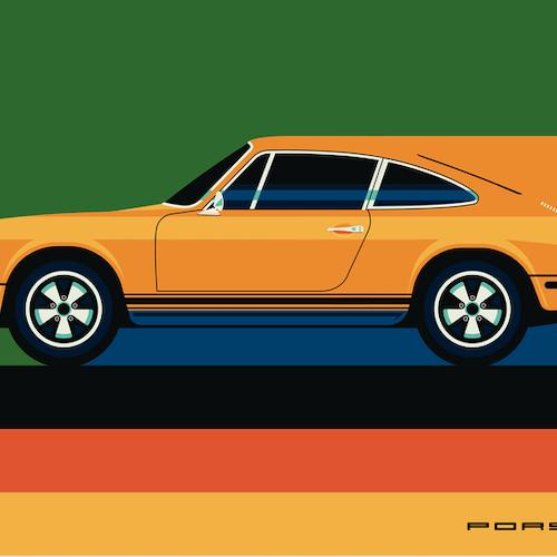 PORSCHE Poster av Bo Lundberg 50*70
