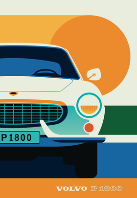 VOLVO P1800 Front. Poster av Bo Lundberg 30*40