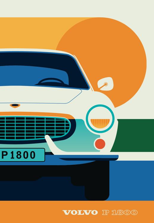 VOLVO P1800 Front. Poster av Bo Lundberg 50*70