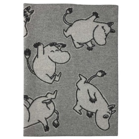 "KLIPPAN YLLEFABRI ""Happy Moomin"" ullfilt 90*130"
