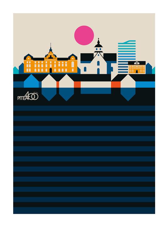 PITEÅ 400 ÅR-Signerad poster av Bo Lundberg 30*40, färg