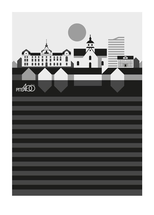 PITEÅ 400 ÅR-Signerad poster av Bo Lundberg 50*70 SÄLJS INRAMAD I BUTIK