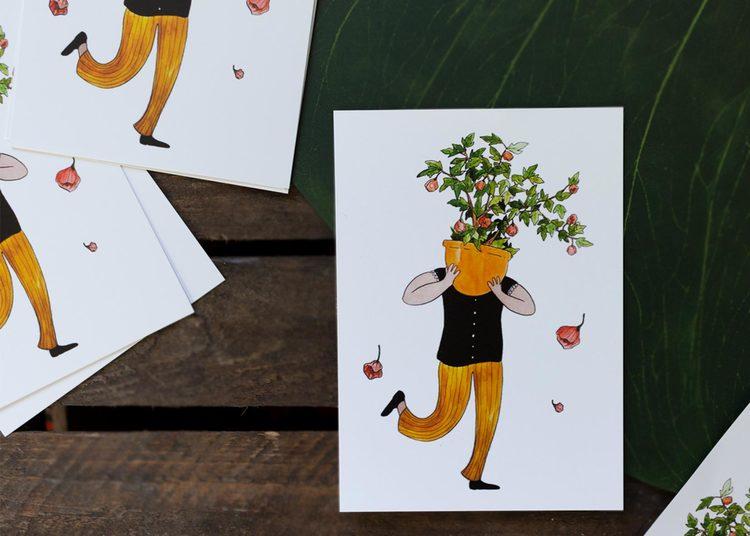 Vykort Flowering Maple