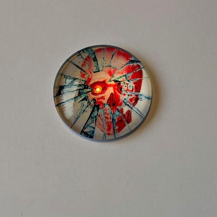 Cabochon 25mm röd,blå