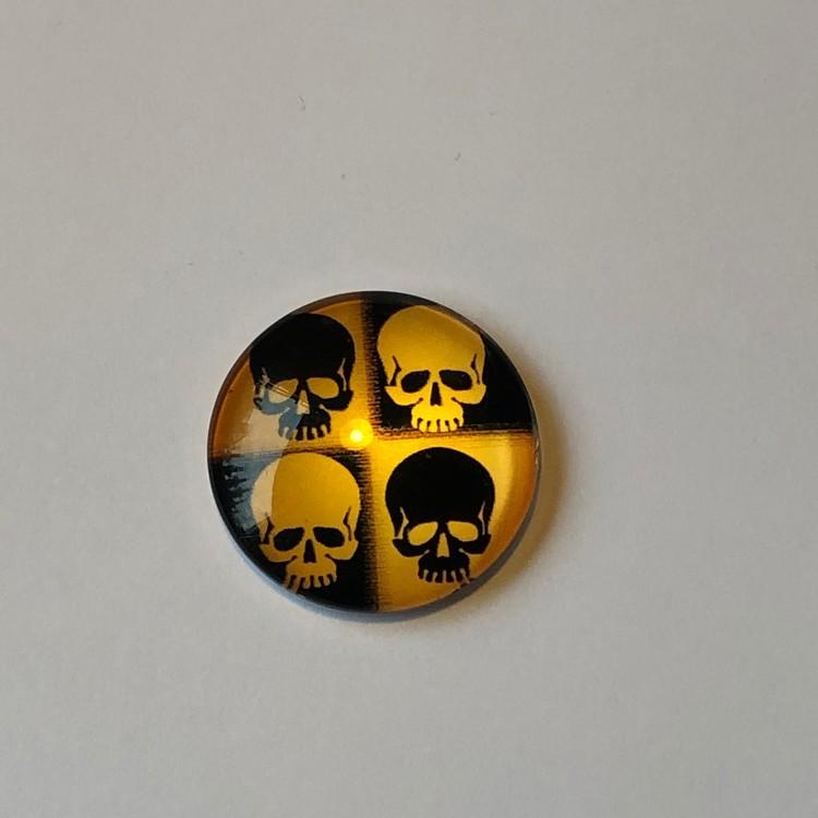 Cabochon 25mm gul,svart