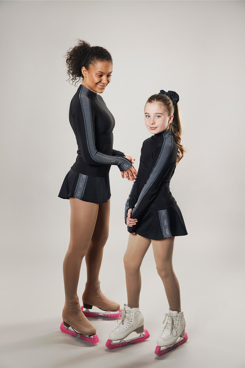 strait line skirt - pwr skate - passionice - black and grey - group