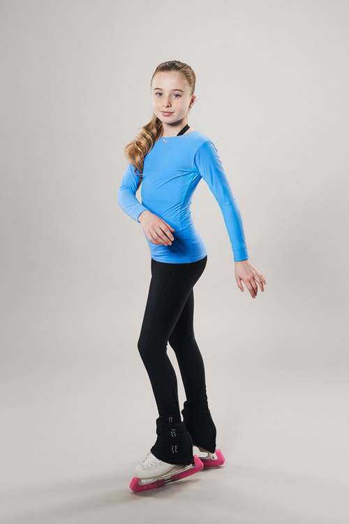 Ice skating top - deep back cut - blue - passionice