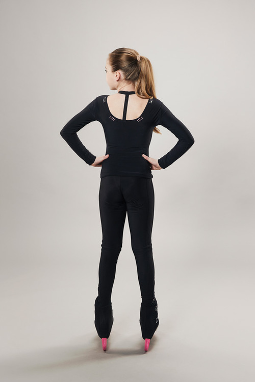 Ice skating top - deep back cut - black - passionice