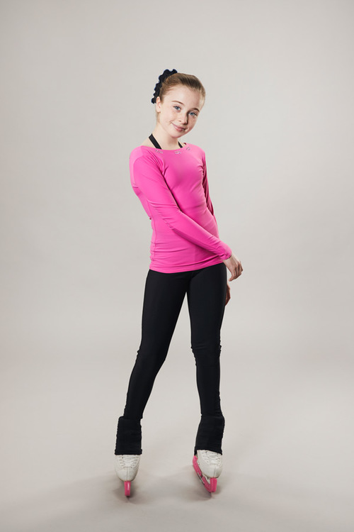 Ice skating top - deep back cut - pink - passionice