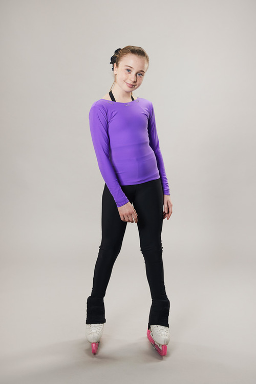 Ice skating top - deep back cut - purple - passionice
