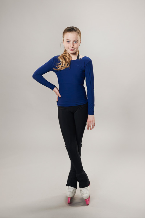 Ice skating top - deep back cut - navy - passionice