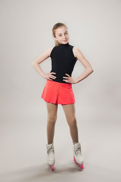 Ice skating skirt coral red - line of 4 - passionice