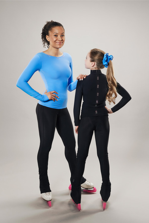 Ice skating turtleneck top long arm - black - passionice - line of 4 - back