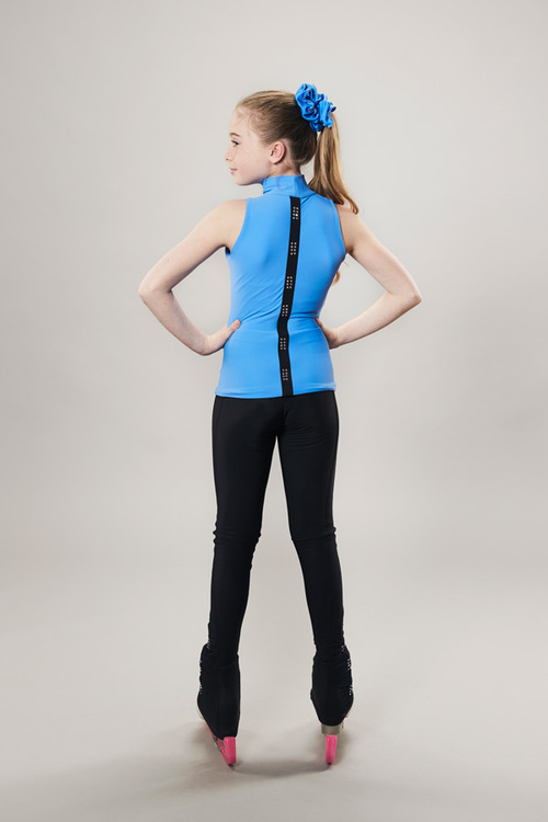 Ice skating turtleneck tanktop - blue - passionice - line of 4 - back