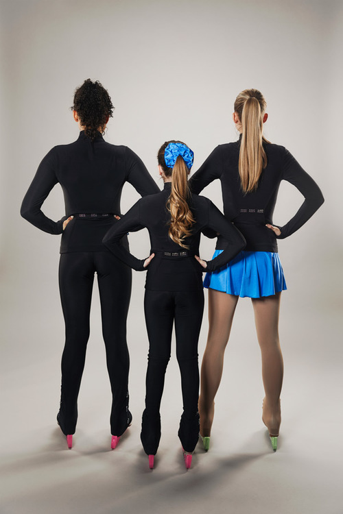 Black ice skating tights - line of 4 - group
