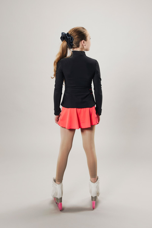 Ice skating skirt - coral red - lightning - passionice - back
