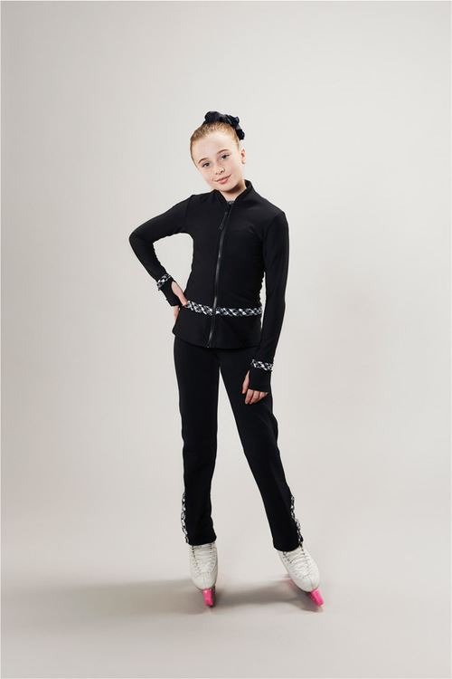 Ice skating tights for kids - black - cafe de paris - passionice - front