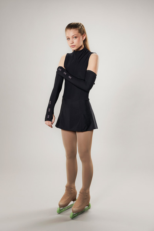 Ice skating open back dress - black - galaxi - passionice