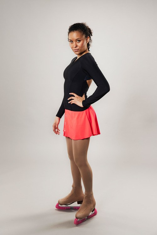 Ice skating skirt for women - coral red - Line of 4 - passionice - back