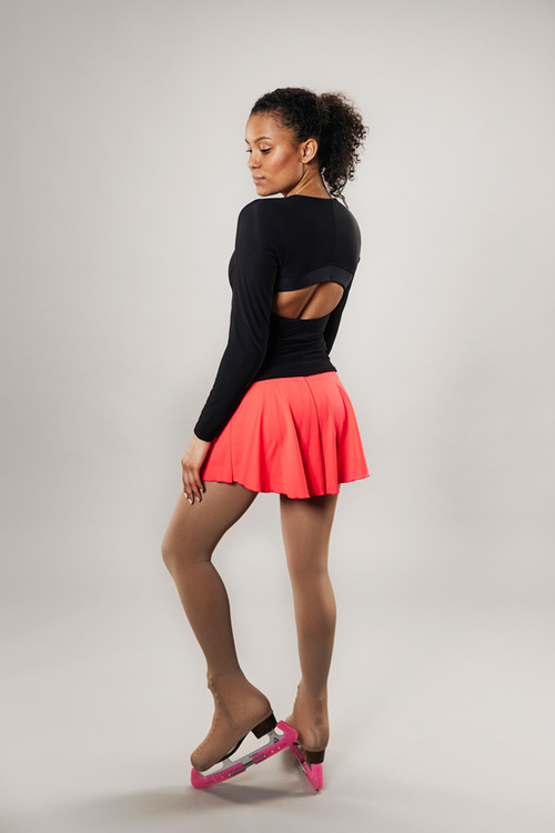 Ice skating skirt for women - coral red - Line of 4 - passionice