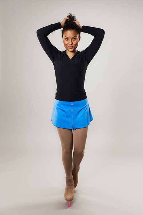 Ice skating skirt for women - blue - Line of 4 - passionice