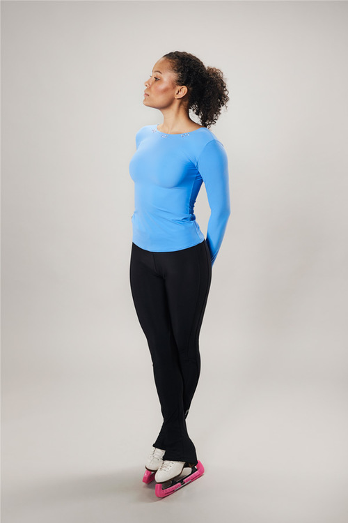 ice skating top deep back - blue - line of 4 - passionice - front