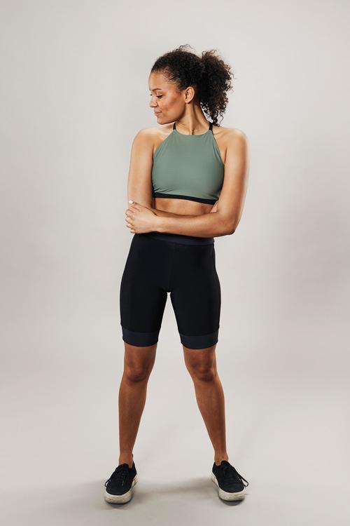 modern sports bra - musty green - passionice - front