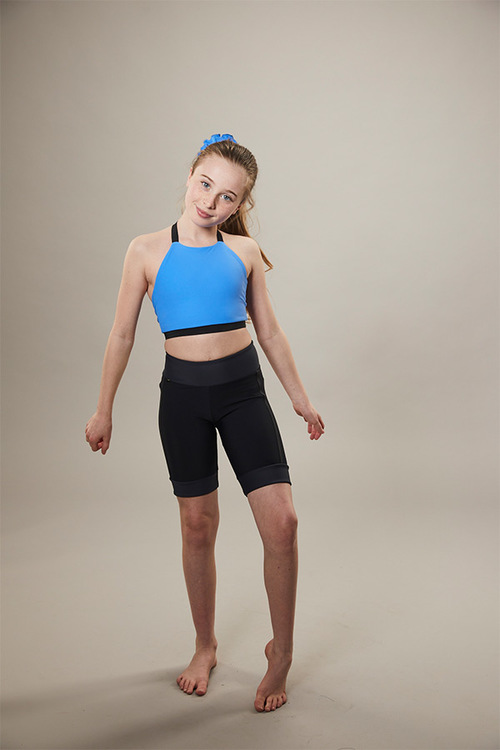 ice skating sports bra - blue - front
