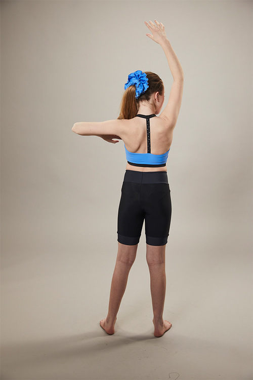 ice skating sports bra - blue - back