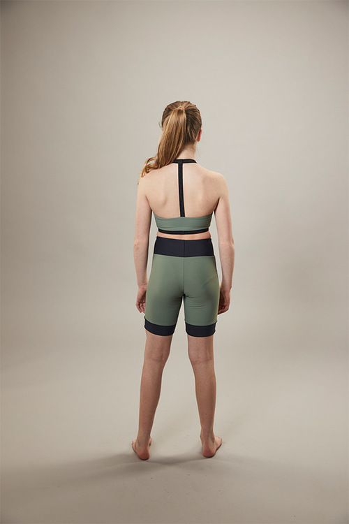 ice skating - cyclist shorts - on off - green - back