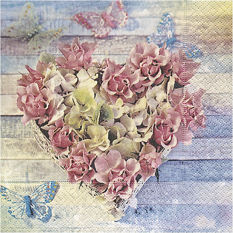 Servetter med hjärta av rosor