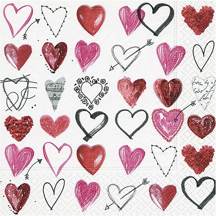 Servetter små hjärtan