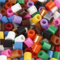 Rörpärlor med slits, blandade färger