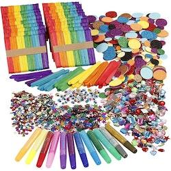 Glitter och träpinnar, mixade färger, 1set