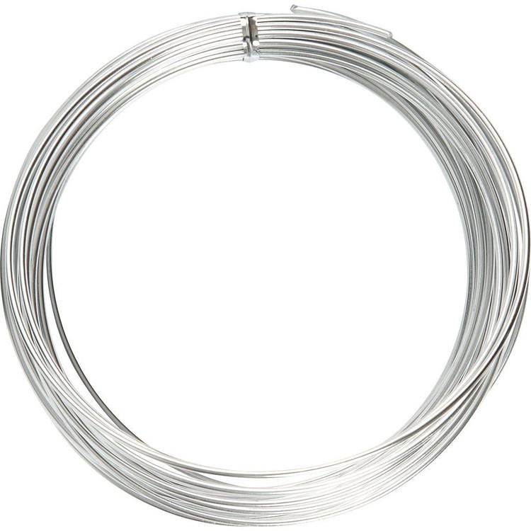Aluminiumtråd, tjocklek 1 mm, silver, Rund, 16m