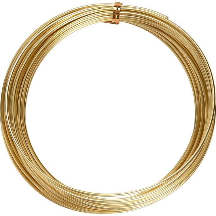 Aluminiumtråd, tjocklek 1 mm, Guld, Rund, 16m