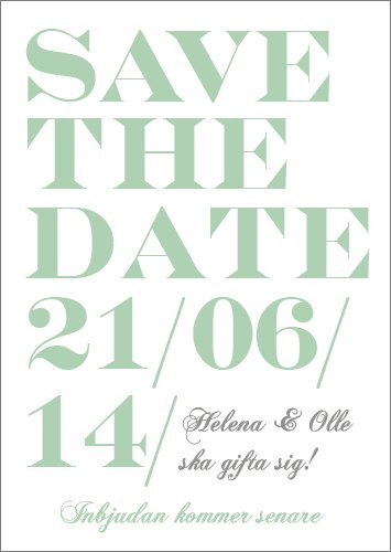 """When I fall in love"" Save the date grön"