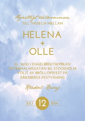 """""""Ribbon in the sky"""" bröllopsinbjudan blå"""