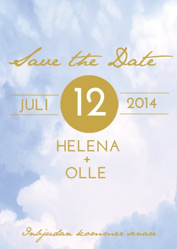 """Ribbon in the sky"" Save the date blå"