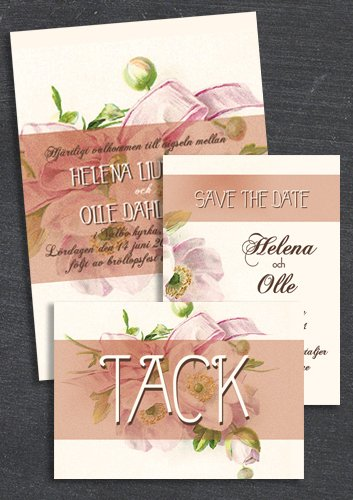 "Paket: ""HAVE I TOLD YOU LATELY"" Rosa; Save the date, inbjudan & tackkort (värde 507 SEK)"