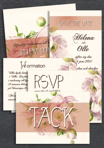 "Paket: ""Have I told you lately"" Rosa; Save the date, inbjudan, tackkort, infokort & OSA-kort (värde 765 SEK)"