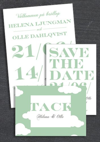 "PAKET: ""WHEN I FALL IN LOVE"" GRÖN; SAVE THE DATE, INBJUDAN & TACKKORT (VÄRDE 507 SEK)"